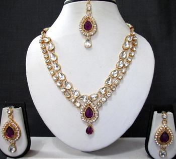 Purple 2 line tilak stone necklace set