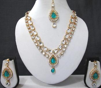Sky blue 2 line tilak stone necklace set