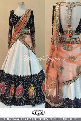4034689012 White Machine Work Rasal Net Designer Lehenga Choli With Banglori Silk  Blouse - Srinaam - 1502912