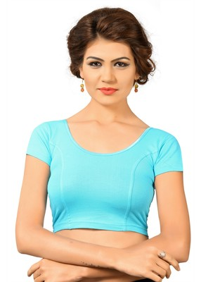 Blue Cotton And Lycra Plain Stitched Readymade Blouse
