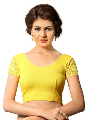 Yellow cotton and lycra plain stitched readymade blouse