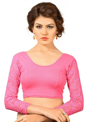 Pink cotton and lycra plain stitched readymade blouse