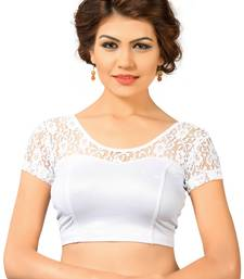 Buy Silver shimmer plain stitched readymade blouse women-ethnic-wear online