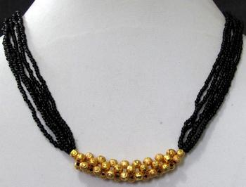 Multi line golden ball mangalsutra necklace