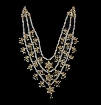 Kundan And Pearl Gold Plated Teen Lada Raani Haar Necklace