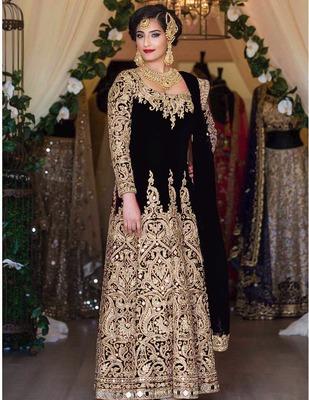 Black silk semi stitched salwar with dupatta