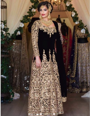 Black silk semi stitched salwar with dupatta