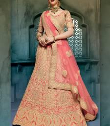 Buy red embroidered georgette unstitched lehenga choli bridal-lehenga online