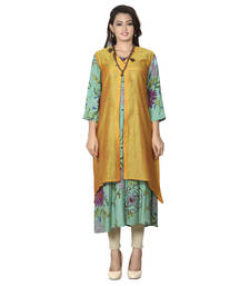 Buy Golden printed chanderi stitched kurti pakistani-kurtis online