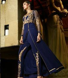 Buy Navy blue georgette embroidered semi stitiched salwar with dupatta salwars-and-churidar online