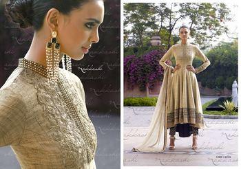 Beige designer heavy embroidered dress