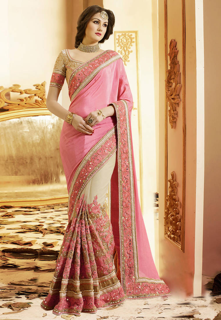4f227607fc0c16 Light hot Pink embriodered Satin and super Net Saree with blouse ...