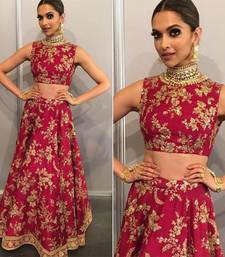 Buy pink embroidery art silk unstitched lehenga black-friday-deal-sale online