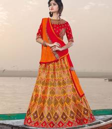 Buy mustard embroidered jacquard unstitched lehenga wedding-lehenga online