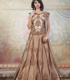 Buy beige embroidered art_silk unstitched lehenga party-lehenga online