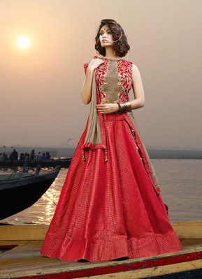 Red Embroidered Jacquard Unstitched Lehenga