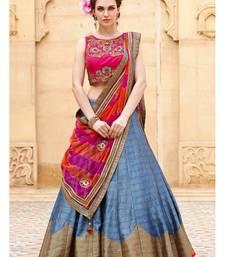 Buy grey embroidered art silk unstitched lehenga navratri-lehenga-chaniya-choli online