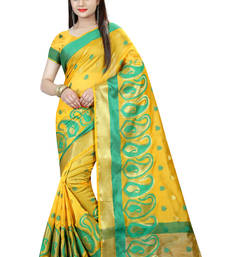 Buy Yellow plain cotton silk saree with blouse haldi-ceremony-dress online