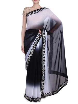 Black and White Georgette saree
