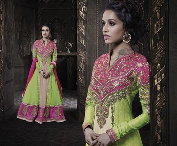 Green and Pink Georgette net designer Anarkali suit