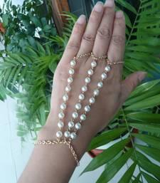 Buy Pearl golden Chain Exclusive designer classic pretty haathful eid-jewellery online
