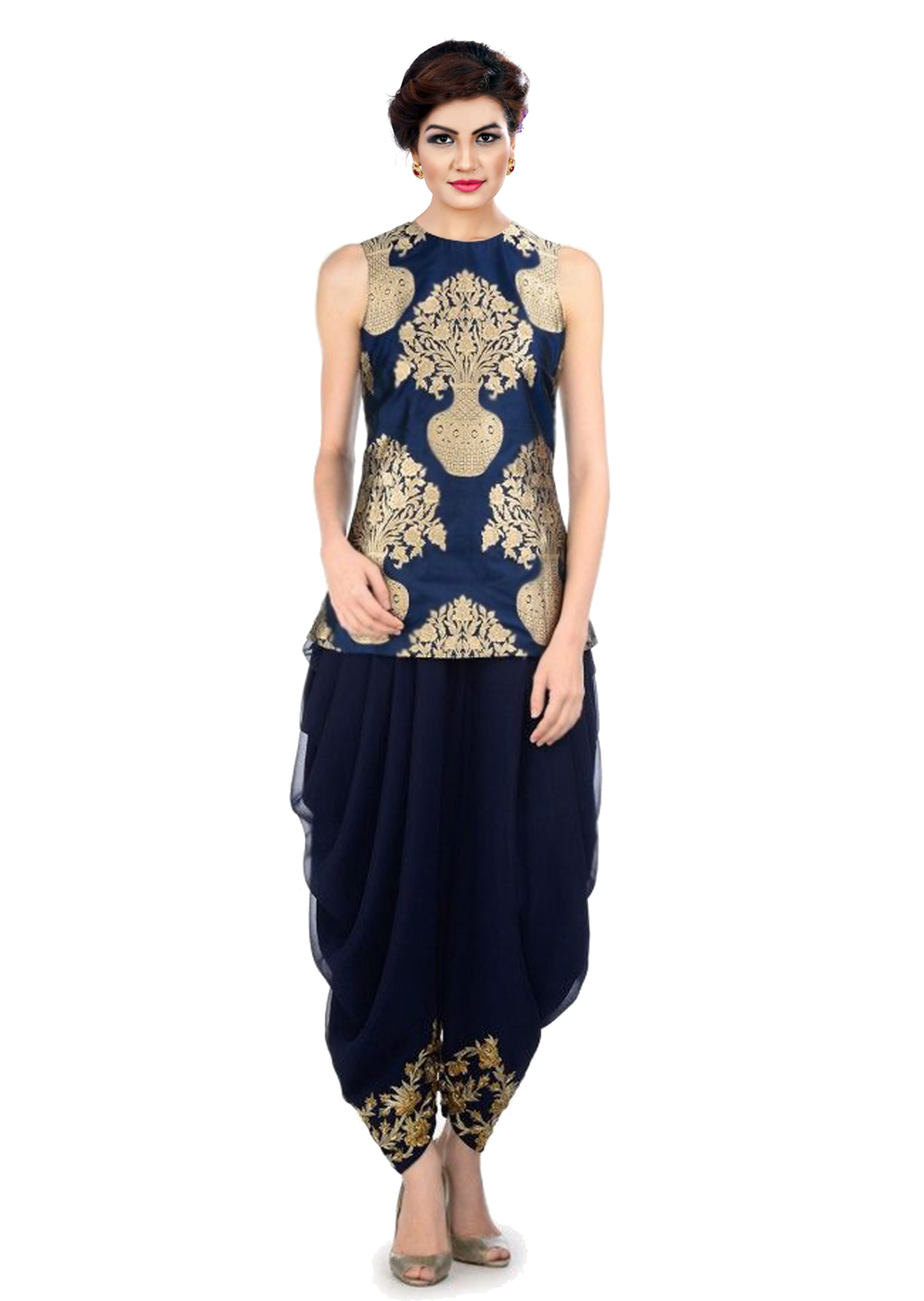 f76d6a16e5c indo western dhoti pant and jacket (Navy blue) - KMOZI - 1511924