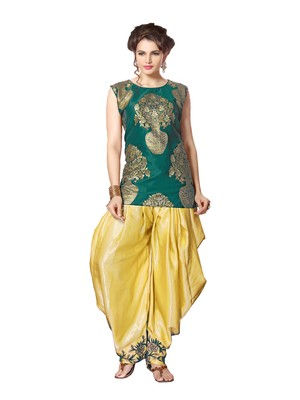 indo western dhoti pant and jacket by kmozi (Green and cream)