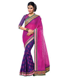 Buy Hypnotex Purple Cream Golli Tissue Cotton Jacquard Saree  Bhakti2720 party-wear-saree online
