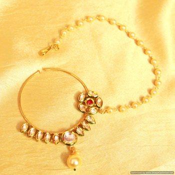 Kundan Meenakari Pearl Bridal Nose Ring