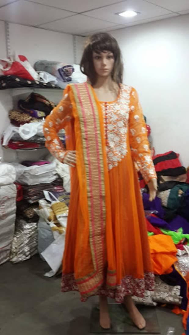 Buy Deepika Padukone Orange Designer Embroidered Semi