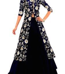 Buy navy blue bangalori silk embroidery unstitched lehenga choli lehenga-choli online