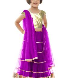 Buy kids wear Purple Soft Net lehenga-choli kids-lehenga-choli online