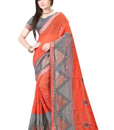 Buy Orange embroidered cotton saree with blouse ethnic-saree online
