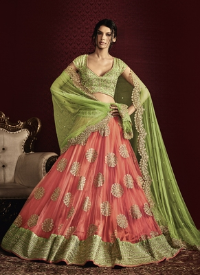 baby pink embroidered net unstitched lehenga
