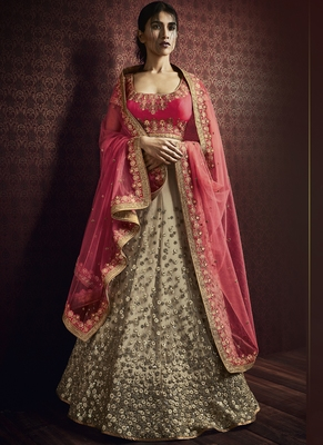 beige embroidered net unstitched lehenga