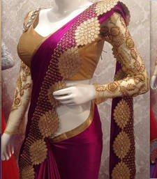 Buy Wine embroidered art silk saree with blouse wedding-saree online