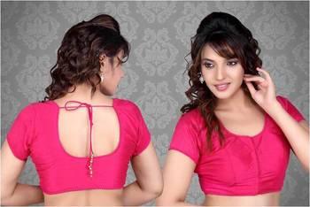 8f361a2e1237a8 Plain Dupian Silk Sarre Blouse With Bead Lace X-35p pink. Muhenera presents  vama