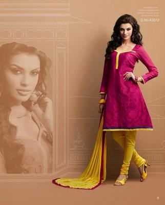 Designer Pink & Yellow Chanderi Suit