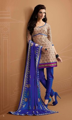 Designer Beige and Blue Chanderi Suit