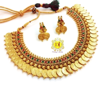 Temple jewellery coin necklace set....magenta green