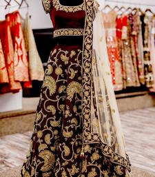 Buy Maroon velvet embroidered unstitched lehenga choli navratri-lehenga-chaniya-choli online