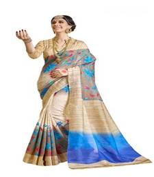 Buy beige printed bhagalpuri cotton saree With Blouse below-500 online