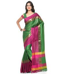 Buy Green printed cotton silk saree with blouse art-silk-saree online
