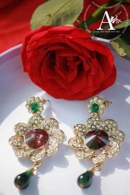 Crescent Green Red Sprawkling Diamond & Kundan Earrings, Chandelier earrings with beads, Indian Mystique Earrings,Kundan