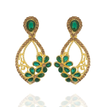 Excellent Green Colour Stone Studed Alloy  Ear Hangings for Girls & Women
