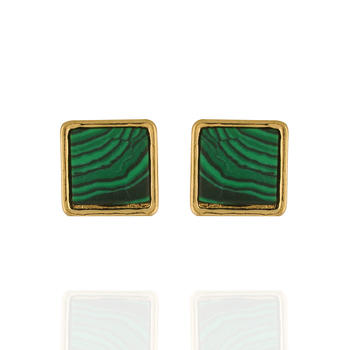 Chic and Trendy Green Colour Square Shape Alloy Ear Studs for Girls & Women