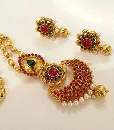 Buy Gorgeous Multi-Color Kempu Designer Necklace Set south-indian-jewellery online