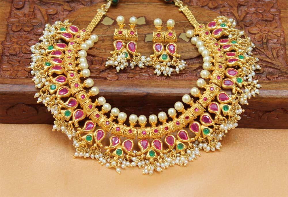 8ab66f7f5375f Designer traditional high gold gutta pusalu necklace set