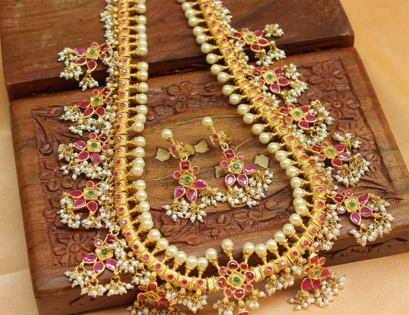 Buy Designer Traditional High Gold Gutta Pusalu Necklace