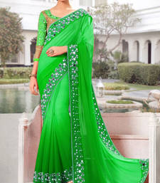 Buy Green mirror work georgette saree with blouse eid-saree online